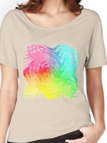 Rainbow Abstract Swirly Wave Crash Pattern Women's Relaxed Fit T-Shirt