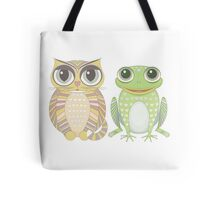 Big-Eyed Cat and Optimistic Frog Tote Bag