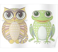 Big-Eyed Cat and Optimistic Frog Poster