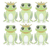 3 Crowned Frogs and 3 Crownless Frogs by Jean Gregory  Evans