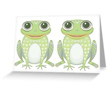 Happy Twin Frogs Greeting Card