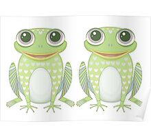 Happy Twin Frogs Poster