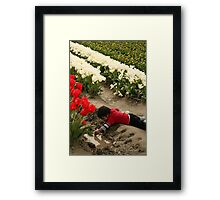 Best Part of the Tulip Field is the Puddle Framed Print
