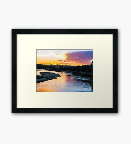 a recflection in the water Framed Print