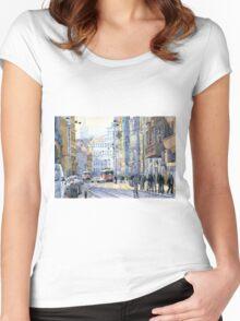 Prague Vodickova str  Women's Fitted Scoop T-Shirt