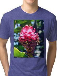 Pink Ginger Tropical Flower Plant Tri-blend T-Shirt