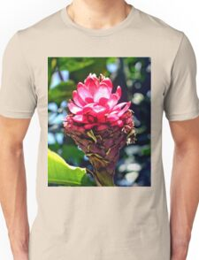 Pink Ginger Tropical Flower Plant Unisex T-Shirt