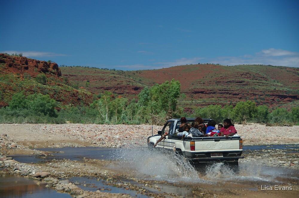 Locals enjoying the Finke River, Central Australia by Lisa Evans