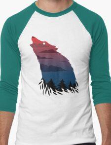 Scary howling wolf Men's Baseball ¾ T-Shirt