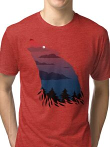 Scary howling wolf Tri-blend T-Shirt