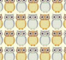 Owls In Pattern by Jean Gregory  Evans
