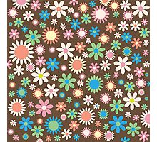 Girly Retro Flowers Pattern Photographic Print