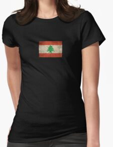 Old and Worn Distressed Vintage Flag of Lebanon Womens Fitted T-Shirt