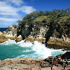 Waves against the Gorge - North Stradbroke Island by Troy Curry