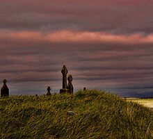 Celtic Crosses over Aran Beachfront by Louise Fahy
