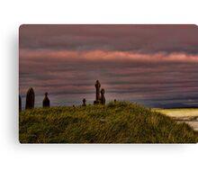 Celtic Crosses over Aran Beachfront Canvas Print