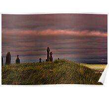Celtic Crosses over Aran Beachfront Poster
