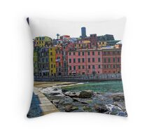 Monterosso, Italy - A View From the Seawall Throw Pillow