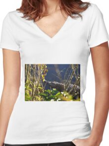 Alligator in the grassy knoll Women's Fitted V-Neck T-Shirt