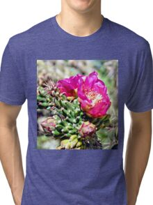 Fuscia Pink Cactus Flower Bloom Tri-blend T-Shirt