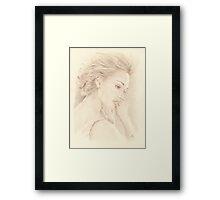 """Jessica"" Color Pencil Art Work Framed Print"