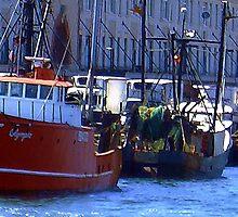Fishing Boats in Boston Harbor by Monika Fuchs