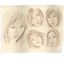 """Oriental Sketchbook l"" Colour Pencil Art Work Poster"