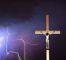 The Crucifixion of Jesus - Lightning and the Cross by Bo Insogna