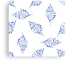 Seashell vector seamless summer pattern Canvas Print