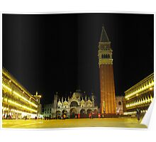 Night time in St Marco Square, Venice, Italy Poster
