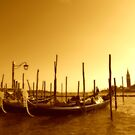 Romantic Gondola at shore, Venice Island, Italy by georgelim
