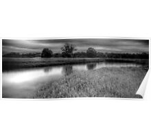 Countryside Pond B&W Poster