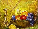 FRUIT AND CANDLE STILL LIFE by Tammera