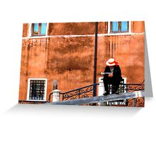 Gondola man at rest, venice, italy Greeting Card