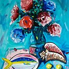 Flowers and Yellowtail Snapper by Sonny  Williams
