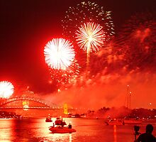 Red Smoke Sky over Sydney Harbour  by Spincat