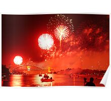 Red Smoke Sky over Sydney Harbour  Poster