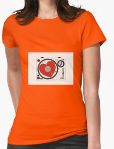 Retro Record Player Womens Fitted T-Shirt