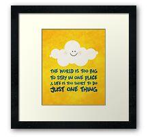 Happy cloud & the big, big world  Framed Print