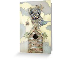 Blue Owl Birdhouse I Greeting Card