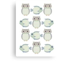 Owls & Fish Canvas Print