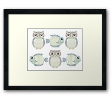Three Cool Fish and Three Cool Owls Framed Print