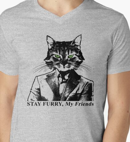 Stay Furry My Friends Mens V-Neck T-Shirt