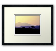 A horse is silhouetted as the sun sets over Pastelero Spain Framed Print