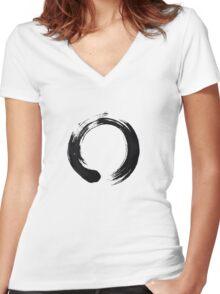 Zen Enso Circle Women's Fitted V-Neck T-Shirt