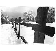 Old wood fence in the snow Poster