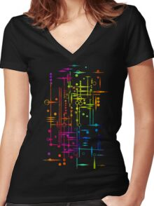 Kree City Blueprints (Watercolour Splatter) Women's Fitted V-Neck T-Shirt