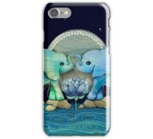 Lotus Flower Elephants Ocean Blue and Sea Green iPhone Case/Skin