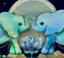 Lotus Flower Elephants Ocean Blue and Sea Green Sticker