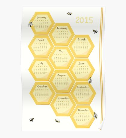 2015 Bees and Honeycomb Calendar Poster